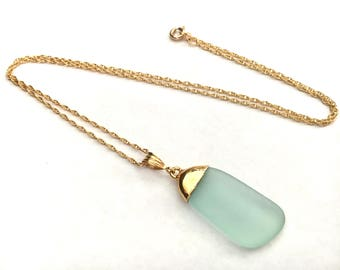 Light Blue Sea Glass 18kt Gold Dipped Necklace