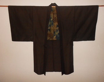 Vintage haori for men - Dark brown, tsumugi silk