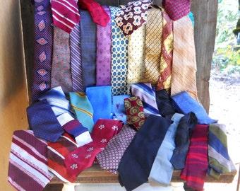 Fashion Silk Tie Lot Huge Assortment 33 Vintage 1950s -60s Mid Century Modern Retro Steampunk Clothing Prop Industrial Repurpose Fabric