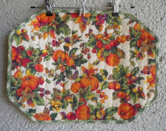 Set of 4 Vintage Harvest Placemats for Thanksgiving Holiday Table Linens Dining Pumpkins Autumn Fall Kitchen Floral Reversible Solid