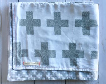 Modern Grey and White Baby Blanket
