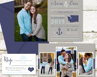 Photo Wedding Invitation set with fun typography, unique and custom wedding paper, wedding location, wedding engagements, wedding paper