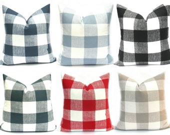 Buffalo Check Pillow, Decorative Pillow, Plaid Pillow, Gray Pillow ,black buffalo check, Red pillow, Throw Pillows,  pillows, tan pillow