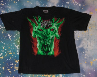 1990s SLAYER Metal Rock T-Shirt Size L Root of All Evil 90s