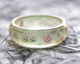 Resin bangle with embedded botanical succulents art