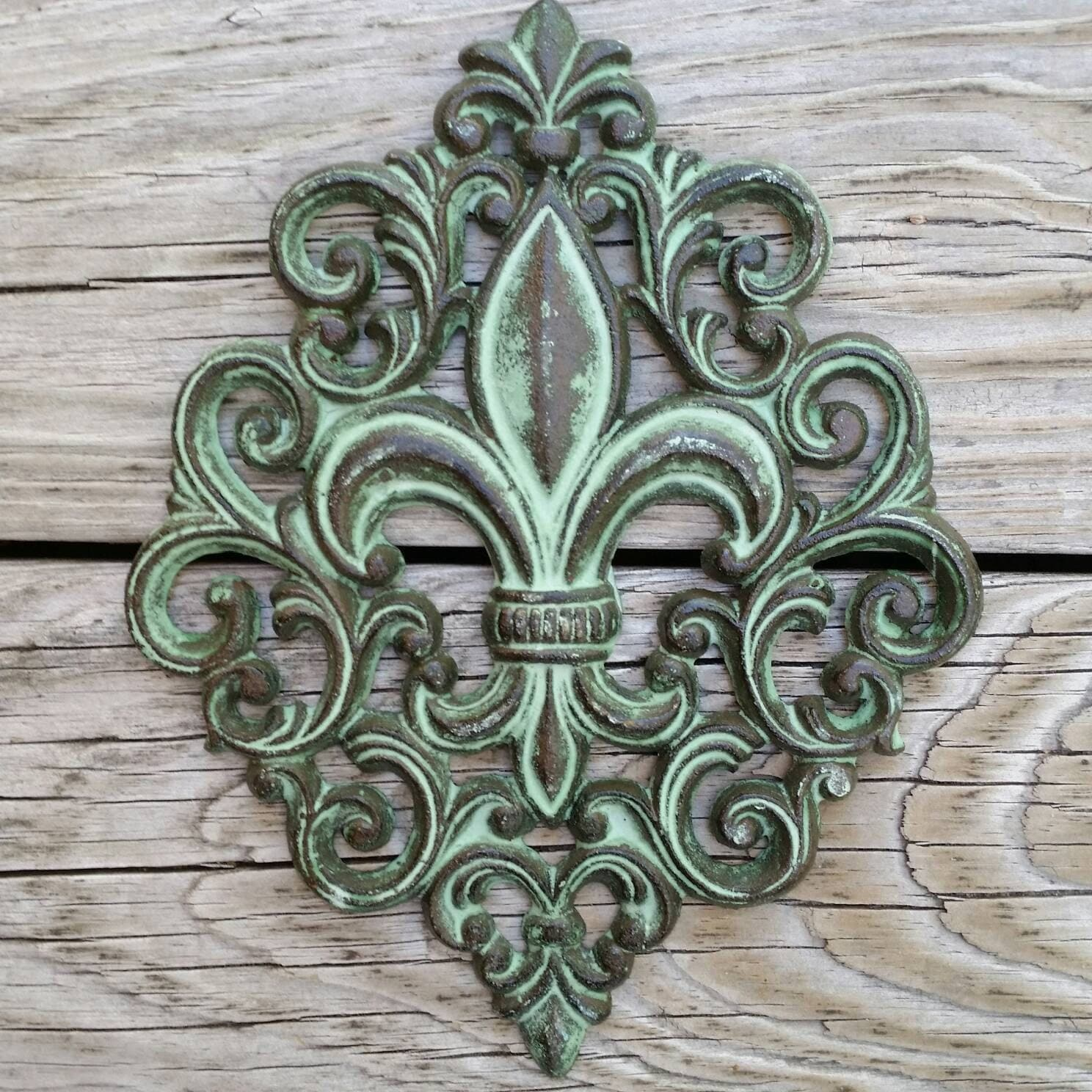 Cast iron fleur de lis wall plaque cast iron wall decor for Iron accents promo code