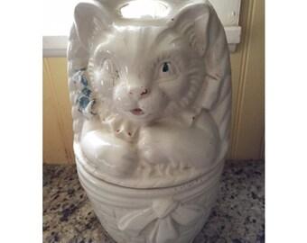 Vintage Kitten in a Basket Cookie Jar, Cold Painted Vintage Cookie Jar