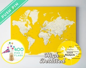 Push Pin World Map Canvas Rustic Yellow- Ready to Hang - High Detailed - 240 Pins + 198 World Flag Sticker Pack Included