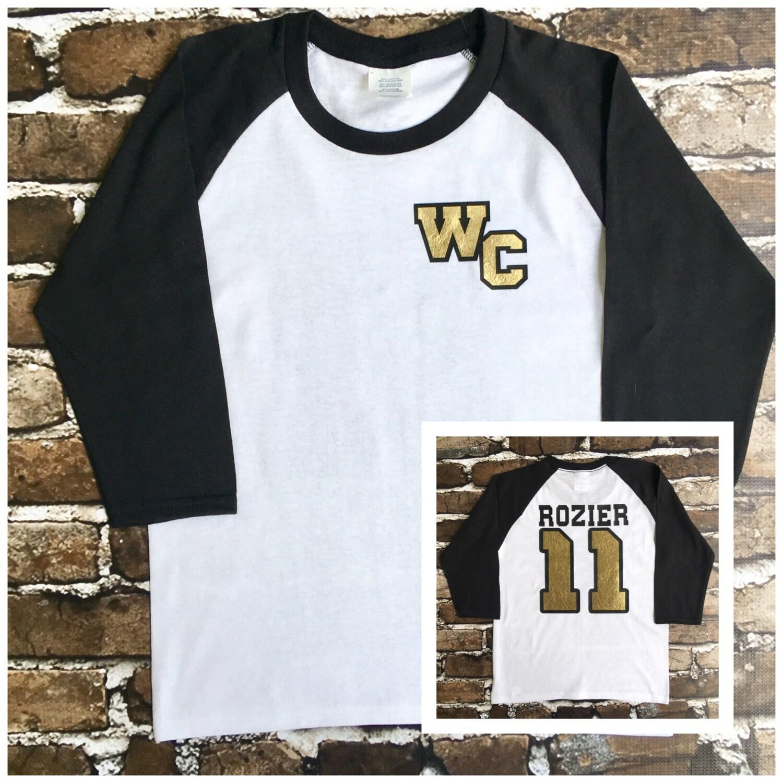 Custom School Spirit T Shirt Raglan Monogrammed Jersey