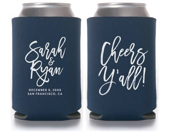 Wedding Can Coolers, Cheers Y'all, Personalized Can Coolers, Wedding Favors, Beer Sleeves, Can Sleeves, Navy, Cheers Yall, Beer - T409