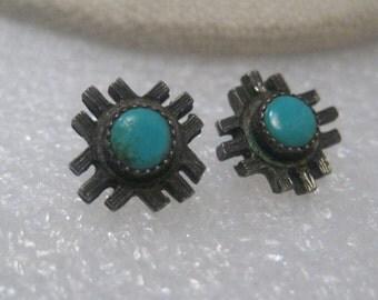 Vintage Sterling Silver Southwestern  1960's Turquoise  Stud, Grid, Pierced Earrings, 2.86gr.