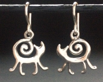 Cat Earrings Sterling, Large retro style cat, solid recycled sterling silver handmade in USA