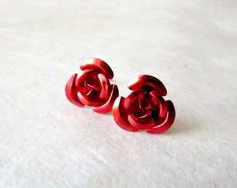 Red Rose Earrings. Lightweight Red Floral Post Earrings. Garnet Red Metal Rose Earring Studs. Cute Jewelry Gifts for Her.