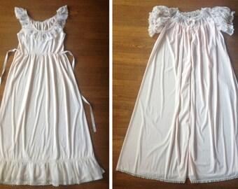 1950s Bridal Peignoir Set Blush Pink Embroidery Lace Trim Full Length