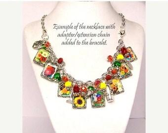 ON SALE Flower Garden Charm Necklace, Flower Seed Packets Gardening Charm Necklace, Gardening Garden Necklace, FlowerNecklace