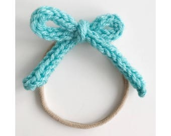 Knit Bow on Elastic band for Babies, Light Teal Knit Bow Headband, Aqua Bow Baby Head Band, Newborn Knit Headband, Frankie Bow