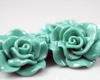 Resin Cabochon - 5pcs - Flower Cabochon - Deep Mint Flower Cabochon - Cabochon - SW005-13