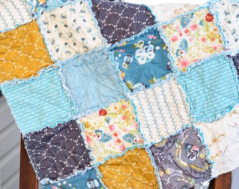 Baby Rag Quilt- Ready to ship Rag Quilt, gray rag quilt, teal rag quilt,  gold rag quilt, baby shower gift,  girl rag quilt, baby photo prop