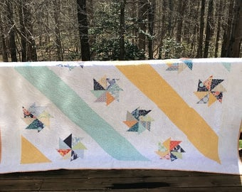 Queen Size Quilt- Ready to ship quilt, Modern quilt, One of a Kind Quilt, Blue and yellow quilt, Modern Quilt, You are My Sunshine Quilt