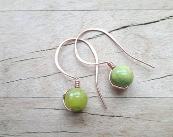 Green Pea Copper Drop Earrings