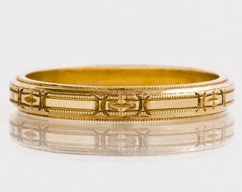 Antique Wedding Band - Antique 1920's 14k Rose Gold Wedding Band