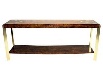 Sale: Burl Wood & Brass Console