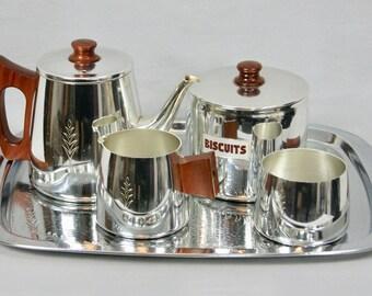 NOS Unused SONA Stratford Upon Avon 1960s Anodic Mirror Finish English Tea Set Kettle + Milk Jug + Sugar Bowl + Biscuit Jar & Serving Tray