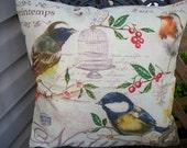 Bird Pillow Cover, 18 x 18 Pillow Cover, French Farmhouse Paris Home Decor, Birdcage, Yellow Birds Chickadee, Birds Nest, Printed