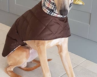 """Italian greyhound readymade quilted coats with fleece lining 15"""" long"""