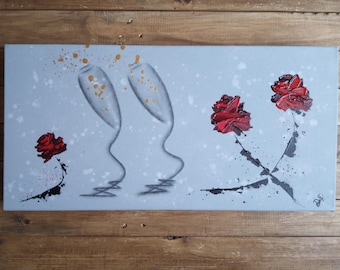 Roses 'n' Romance - An Original Abstract Champagne Glasses and Impasto Roses Wall Art in Charcoal and Acrylics on a Deep Edged Canvas