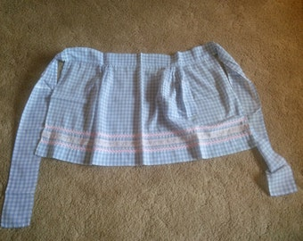 Vintage Apron - Blue and White Gingham Apron - Handmade Apron - Checkered Apron