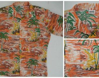 vtg 70s MONTGOMERY WARD Hawaiian Shirt M Aloha Palm tree Orange
