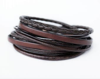 Brown Wrap Leather Bracelet for men, Mens Leather Bracelet with Stainless Steel Clasp, Fathers Day Gift, gift for him, Mens Jewelry, Unisex