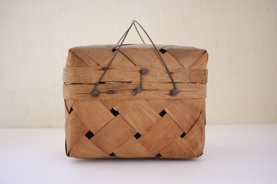 Small Handmade Picnic Primitive Woven Basket with Wire Handles