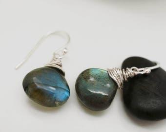 Labradorite earrings - Flash earrings - Gemstone earrings - Dangle earrings