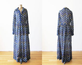 Embroidered Maxi Dress / 70s Long Sleeve Maxi Dress / Vintage Embroidered Boho Dress / Floral Embroidered Long Dress M L