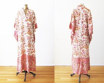 70s India Cotton Dress / 1970s Indian Maxi Dress / Vintage Indian Block Print Maxi Dress / Pink Yellow Indian Kaftan Angel Sleeve Small