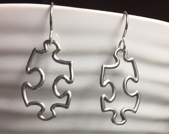 All Sterling Silver Jigsaw Puzzle earrings. Jigsaw earrings. Jigsaw jewerly.  Awareness jewelry. Autism Jewerly