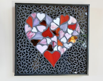 CRAZY HEARTS Mosaic, Stained Glass, Valentine's Day,