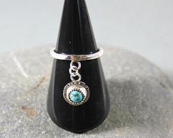 Sterling Silver Dangle Ring, Rustic Ring, Turquoise Boho Ring, Turquoise Charm Ring, Stacker Ring, Artisan Made Jewelry