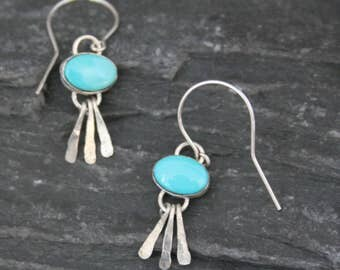 Silver Fringe Earrings, Small Turquoise Earrings, Sleeping Beauty Turquoise, Sterling Turquoise Earrings, Southwestern Jewelry, Boho Dangles