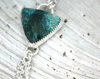 Chrysocolla Necklace, Triangle Stone, Sterling Silver, Fringe Necklace, Small Necklace, Communication, Fringe Necklace,