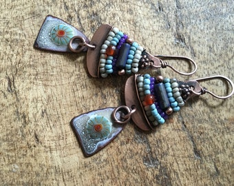 Rustic Bohemian Enamel 'Alegria Series' Primitive earrings n277- artisan floral enamel in handmade . beaded . earthy primitive . artisan
