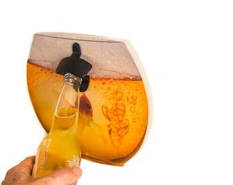 Wall Mounted Bottle Opener Goldfish // Home Bar Personalized Bottle Opener // Rustic Groomsmen Gift // Free worldwide shipping