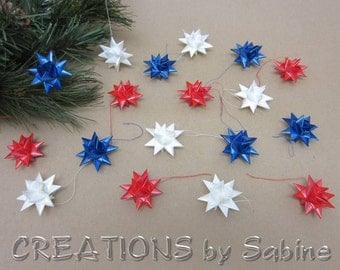 Red White Blue Mini Star Ornaments, Set of 18 Tiny Ribbon Stars USA Froebel America Small Satin Finish Patriotic READY to SHIP (121/122)