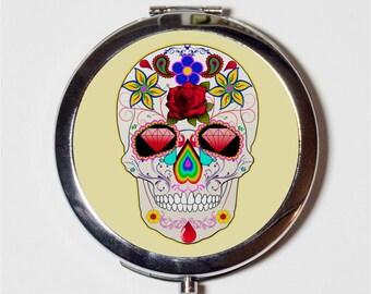 Sugar Skull Compact Mirror - Mexican Day of the Dead Holiday Dia De Los Muertos - Make Up Pocket Mirror for Cosmetics