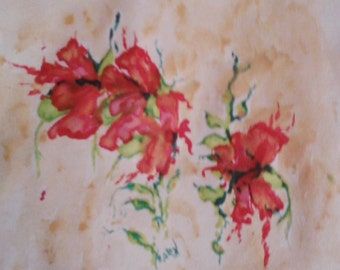 Watercolor,framed original art,orange floral
