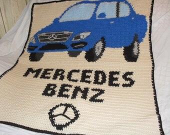 Mercedes benz logo etsy for Mercedes benz blanket