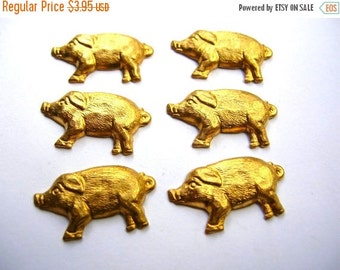 Christmas Sale Pig Stampings - Brass Findings Lot - Pig Findings - Brass Hogs