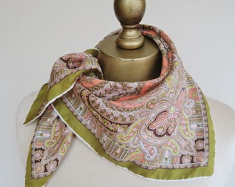 PAISLEY silk scarf, 1950s silk scarf, silk neckerchief, vintage scarves, hand rolled, 50s fashion, square silk scarf, classic headscarf,